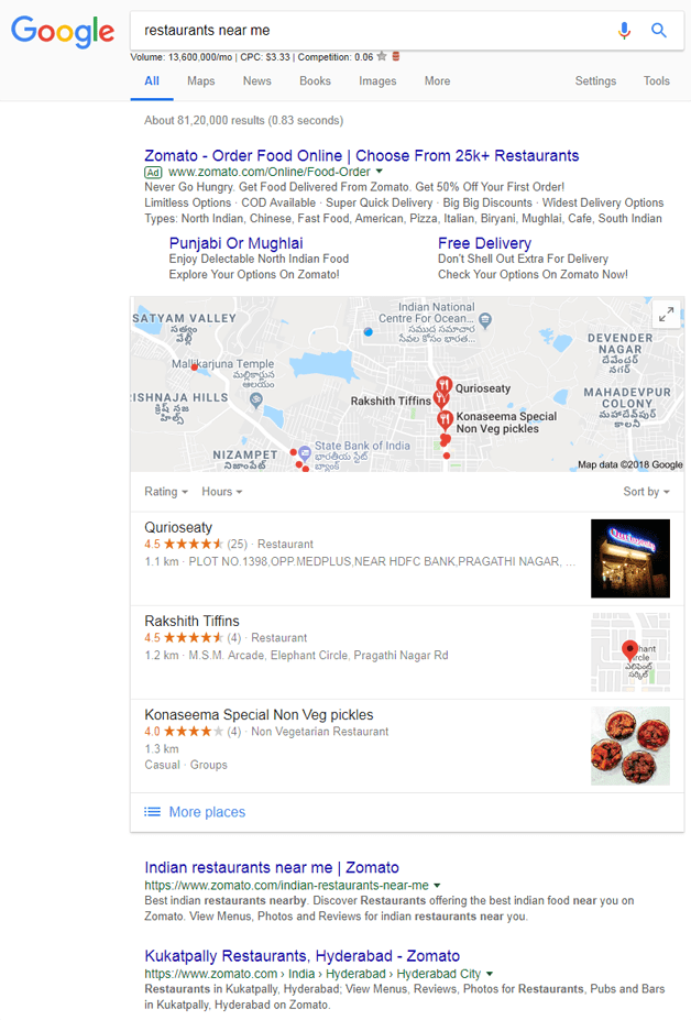 restaurants near me-google search