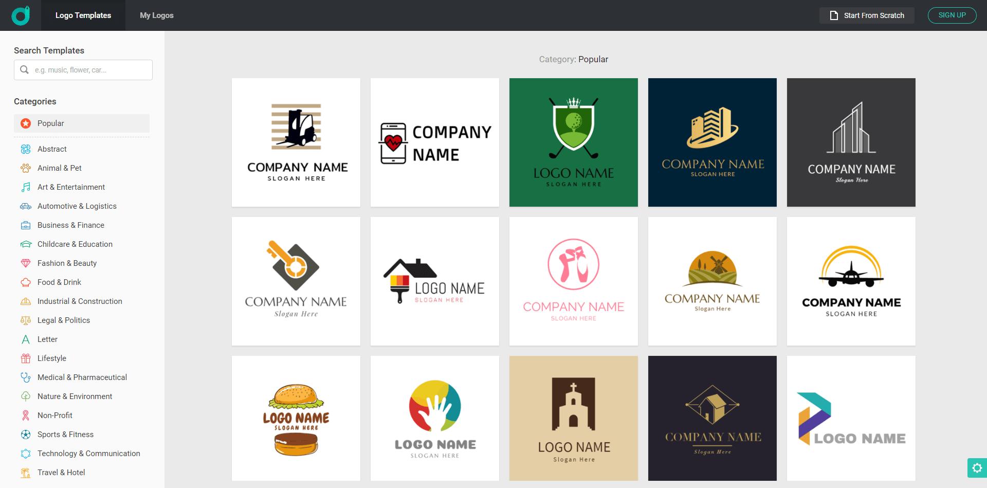 DesignEvo Logo samples
