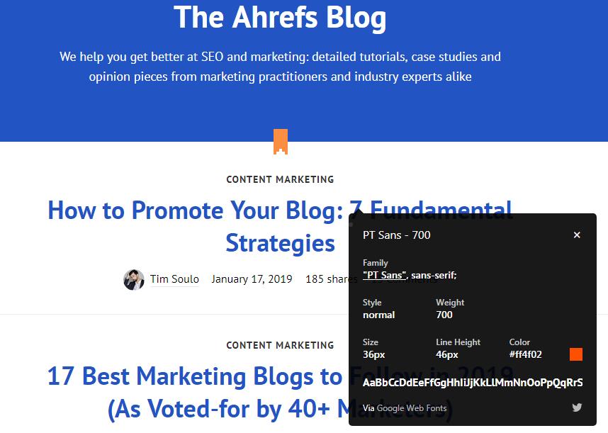 ahrefs blog font